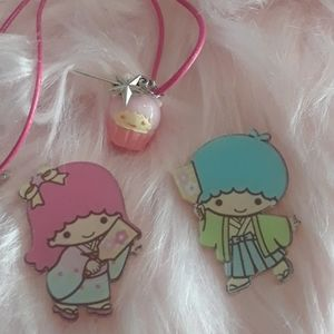 Kawaii Sanrio little twin stars necklace brooch